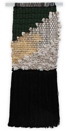 woven wall hanging // green + gold + black + white