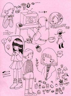 a berry in slumber Pretty Art, Cute Art, Arte Sketchbook, Funky Art, Art Plastique, Aesthetic Art, Cartoon Art, Cute Drawings, Art Sketches