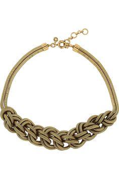 J.Crew|Braided gold-tone necklace|NET-A-PORTER.COM