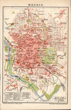 1898 Madrid Spain Antique Map Vintage Lithograph by Craftissimo