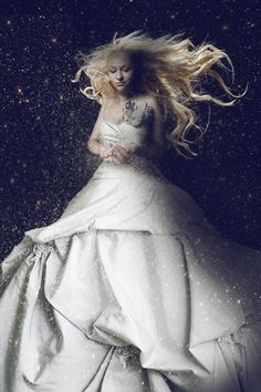 Woman wearing white dress - as a Venus. Woman wearing white dress, with long blo , Fairy Tale Images, Creative Typography Design, Fantasy Images, Female Images, Photography Women, Beautiful Images, Venus, Blonde Hair, Women Wear