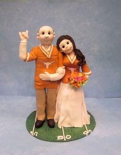 Sports Fan Wedding Cake Topper by lynnslittlecreations on Etsy, $30.00