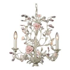 Mini+chandelier+with+floral+accents.+++Product:+Mini+chandelierConstruction+Material:+Metal+Color:+Cre...