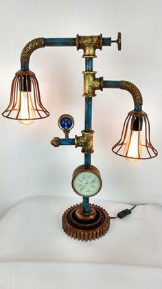 steampunk lamp steam gauge vintage copper fire extinguisher lamp industrial art ebay. Black Bedroom Furniture Sets. Home Design Ideas