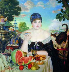 Boris Kustodiev Merchant's Wife at Tea, oil on canvas, State Russian Museum, St. Russian Painting, Russian Art, Russian Style, Framed Art Prints, Painting Prints, Art Paintings, She And Her Cat, Oil On Canvas, Canvas Art