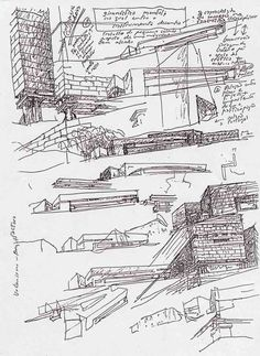 """Alvaro Siza, Galician Center for Contemporary Art, Santiago de Compostela, Spain. Sketch from the book """"Architect's Drawings: A Selection Of Sketches By World Famous Architects"""" by Kendra Schank Smith"""