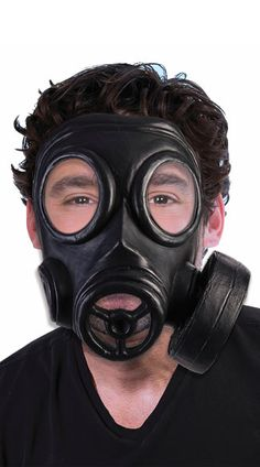 Breathe easy in this black style gas mask featuring two clear lenses, an open mouthpiece, and an elastic back band. Halloween Club, Trendy Halloween, Halloween Masks, Halloween Forum, Halloween 2017, Villain Mask, 1940s Costume, Police Officer Costume, Military Costumes