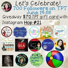 Be sure to enter the two IG Giveway Hops! A $70 TPT gift card will be given away in each hop! Just go to @mrsannerozell on Instagram and follow the loop rules to enter! June 19-26!