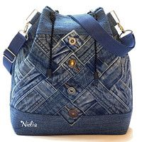 another neat upcycled jeans bag - love the way the waistbands have been used here!