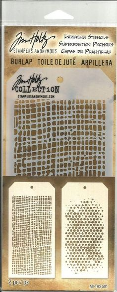 Tim Holtz Layering Stencils 2 Pack - Burlap & Faded Dots THS501 #TimHoltzStampersAnonymous