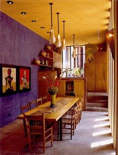 Mexican Dining Room With Wooden Furniture And Hanging Lights : Colorful And Charming Mexican Interior Design