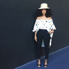 Solange Knowles style, wearing Malone Souliers Peep toe sandals.