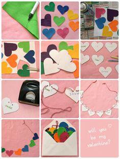 Speciaal voor jouw valentijn maak je ook dit jaar natuurlijk weer een lieve verrassingsboodschap, deze bijvoorbeeld! Benodigdheden:      Verschillende lapjes stof, vilt of vrolijk gekleurd papier (hoeveelheid afhankelijk van je Valentijnsboodschap)     Wit papier