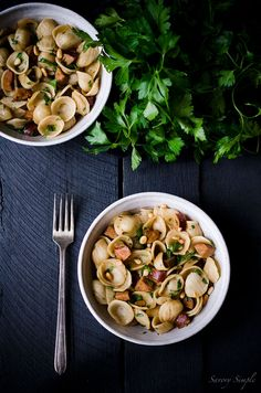 """Definition of comfort food. Simple and easy. // """"Orecchiette with Andouille Sausage, Pine Nuts and Parsley"""" 