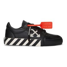 Off-White Black and White Vulcanized Low Sneakers Off White Shoes, White Sneakers, Leather Sneakers, Adidas Sneakers, Shoes Sneakers, Jaket Jeans, Off White Clothing, Dream Shoes, Black Leather