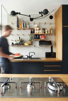Home by aleksi hautamäki, via Behance Little Kitchen, New Kitchen, Kitchen Dining, Plywood Kitchen, Kitchen Shelves, Herd, Kitchen Interior, Cool Kitchens, Sweet Home