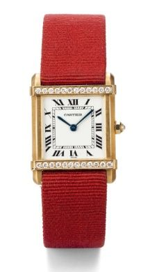 Lady's Yellow Gold and Diamond-set Tank Wristwatch, Cartier