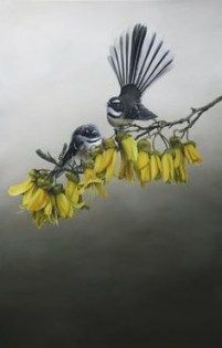 "New Zealand Fantails on blooming Kowhai branch Jane Crisps ""Home in the Kowhai"" Detail is amazing! New Zealand Tattoo, New Zealand Art, Art Maori, Iris Tattoo, Tattoo Bird, Maori Designs, Nz Art, Bird Artwork, Kiwiana"