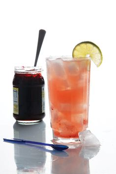 This variation on the El Diablo, a cocktail from the 1940s, swaps creme de cassis for black currant jam and earthy honey.