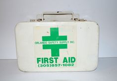 Vintage Orlando Safety Supply Inc White Metal First Aid Kit by AmoreDolce, $25.00