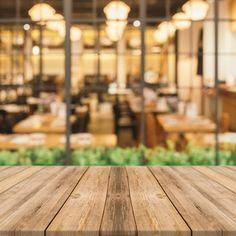 Wooden planks with blurred restaurant background