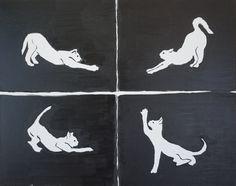 Cat yoga artwork, cat yoga painting, cat yoga wall art, Modern yoga decor, Yoga painting, acrylic cat yoga painting, original cat yoga art