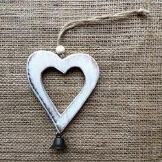 Christmas Decoration -Vintage White Heart & Bell Moonlight, Bottle Opener, Shelf, Christmas Decorations, Heart, Handmade, Vintage, Design, Key Bottle Opener