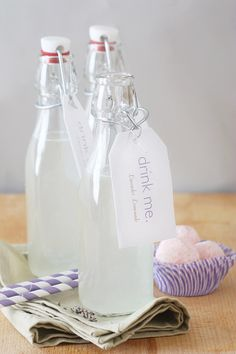 Yum! Lavender Lemonade. But you could put anything in the bottle you desire. And Avery has the perfect hanging tags for the finishing touch.