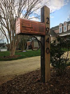 Custom, rustic oak, Corten steel and copper mailbox