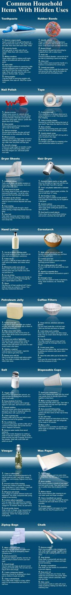 Common household items with hidden uses.