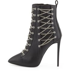 Giuseppe Zanotti Chain-Trim Boxer Bootie, Black (4.960 BRL) ❤ liked on Polyvore featuring shoes, boots, ankle booties, ankle boots, black shootie, black booties, black bootie boots and short black boots