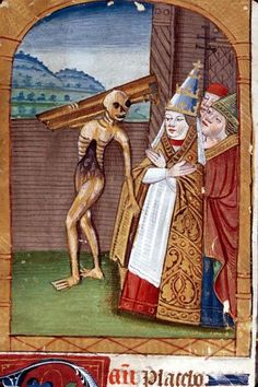 Clermont-Ferrand, B. m., ms. 1508, detail of f. 099 ('Death carrying off a pope'). Book of Hours, Use of Clermont.  France, 4th quarter of the 15th century.