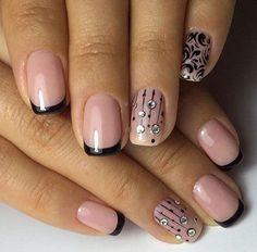 Two-Colors nail art: pink and black french nails Black French Nails, French Nail Art, French Tip Nails, Two Color Nails, Nail Colors, Nail Art Violet, Cute Nails, Pretty Nails, Hair And Nails