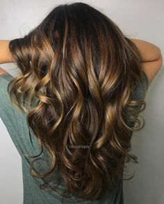 Glossy Bronze Highlights For Brunettes