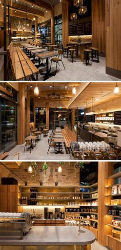 This modern coffee shop features polished concrete, aged brass, reclaimed brick, and wood elements throughout the design.