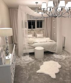 White canopy bedroom - Schlafzimmer - Your HairStyle Dream Rooms, Dream Bedroom, Home Bedroom, Silver Bedroom Decor, Taupe Bedroom, Bedroom Interiors, Bedroom Inspo, Master Bedroom, Girl Bedroom Designs