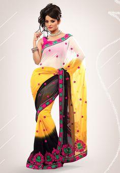 Off White, #Yellow and #Black Faux #Chiffon Saree Wit.. @ $63.45