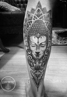 Buddha tattoo is a form of Buddhist art influenced by Buddhism. Similar to other religious tattoos, it& popular for those who have faith in Buddhism. Tattoos Bein, Paar Tattoos, Leg Tattoos, Body Art Tattoos, Tattoos For Guys, Sleeve Tattoos, Tatoos, Buddha Tattoo Design, Buddha Tattoos