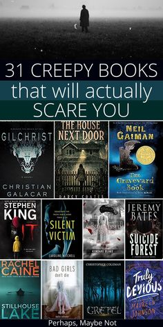 """31 Scary Books To Read in the Dark Tonight - Perhaps, Maybe Not,Are you up for a challenge? Choose one of these creepy books to read when you're home alone. Think you can do it without jumping at creaks and """"footst. Best Books To Read, I Love Books, My Books, Book To Read, Dark Books, Best Scary Books, Scariest Books, Best Books Of All Time, Quote Books"""