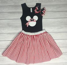 Pirate Minnie Shirt, Skirt, & Bow Set, Cruise Outfit, Girls' Outfit, Minnie Pirate Outfit, Disney Cruise by ChicDesignsStudio on Etsy https://www.etsy.com/listing/287569909/pirate-minnie-shirt-skirt-bow-set-cruise