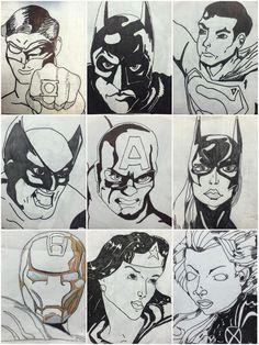 Exploring Art: Elementary Art: 6th Grade Grid Superhero Drawings