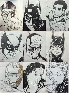 6th Grade Grid Superhero Drawings
