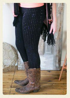 Chasing Dreams Black Studded Leggings - Women's Online Clothing Boutique - www.amavoboutique.com