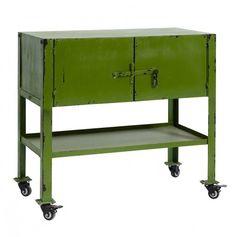 Decoración y muebles de diseño hasta un 55 % de descuento.Armario auxiliar de metal con ruedas color verde