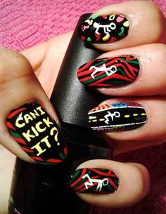A Tribe Called Quest's Midnight Marauders album art turned into a mani. We can kick it. I luv tribe called Quest A Tribe Called Quest, Funky Nails, Beautiful Nail Designs, Cool Nail Art, Mani Pedi, Beauty Nails, How To Do Nails, Pretty Nails, Hair And Nails