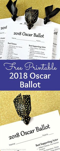 Free printable 2018 Oscar Ballot! Looking for Oscar party ideas? Download this printable Oscar ballot to track Academy Award winner predictions and red carpet faves! This free printable Oscar nominations ballot is the perfect addition to your Academy Awards party. Plus, tips for assembling the free Oscar Ballots for your viewing party or a fun night at home for movie lovers!   Hello Little Home #oscars #oscarparty #oscars2018 #academyawards #awardshowparty #2018oscarballot #oscarballot