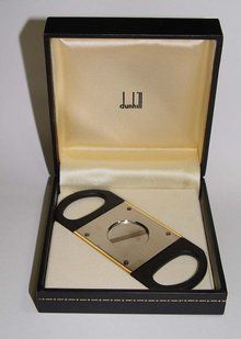 Dunhill Gold pl Stainless Steel Double Cigar Cutter Box