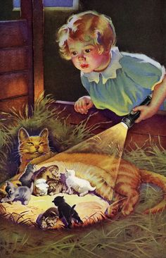 """Cats in Art & Illustration: Frances Tipton Hunter """"Nine Lives"""" ad for EverReady batteries I Love Cats, Crazy Cats, Cute Cats, Art Et Illustration, Cat Illustrations, Here Kitty Kitty, Cat Drawing, Cat Art, Cats And Kittens"""