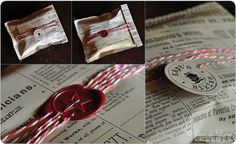 Scrap Book Paper + Twine + Tag or Seal. Love the sewn edges and hole punching.
