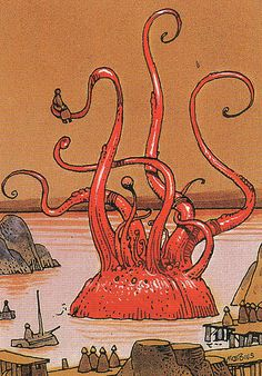 Art by Jean Giraud a. Jean Giraud, Science Fiction, Cthulhu, Kraken, Illustrations, Illustration Art, Moebius Art, Ligne Claire, Bd Comics